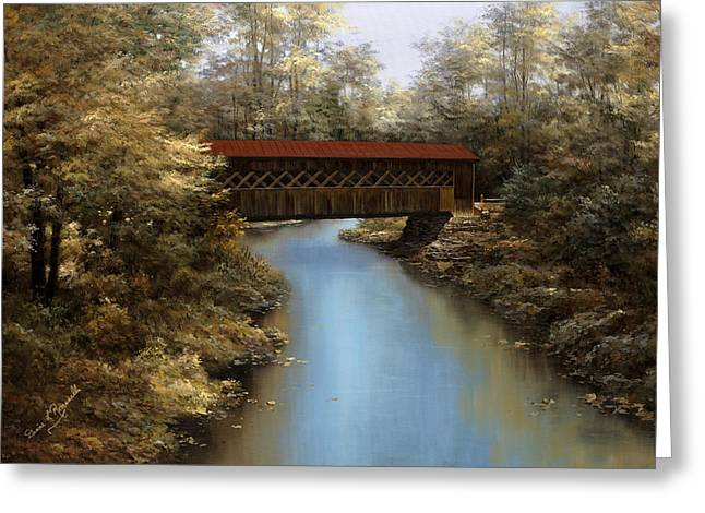 Covered Bridge Greeting Card by Diane Romanello