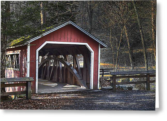 Covered Bridge Greeting Card by Ercole Gaudioso