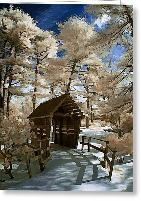 Covered Bridge In Snow Greeting Card
