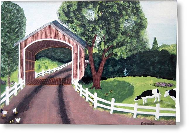 Covered Bridge Greeting Card by Linda Robinette