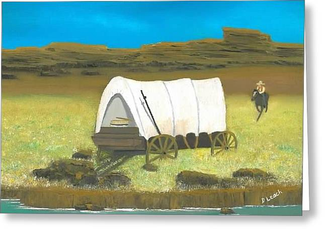 Covered Wagon Greeting Card by Donna Leach