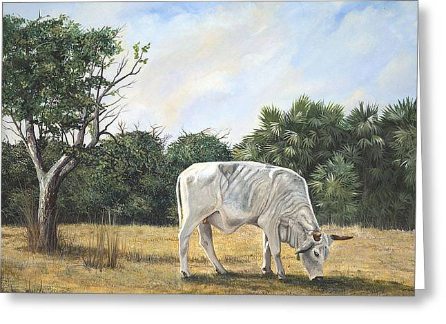 Greeting Card featuring the painting Cow by AnnaJo Vahle