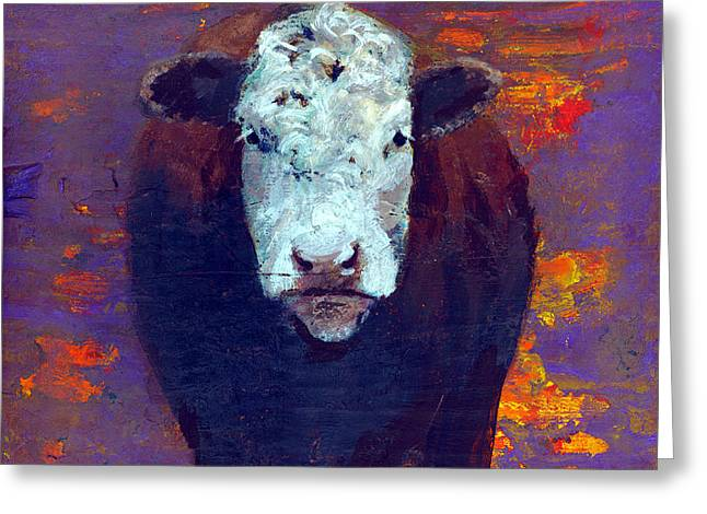 Cow Greeting Card by Eric Atkisson