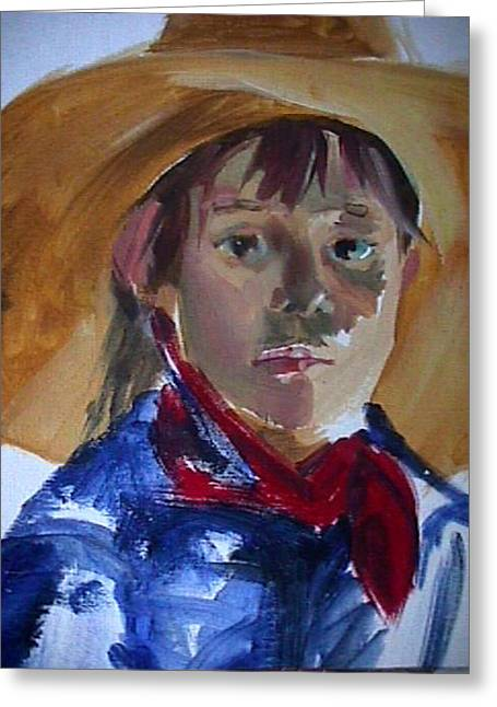 Greeting Card featuring the painting Cow Girl by Jan Swaren