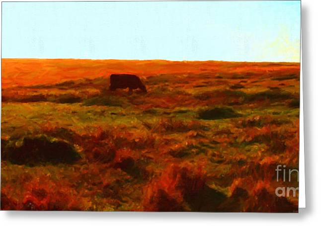Cow Grazing In The Hills Greeting Card by Wingsdomain Art and Photography