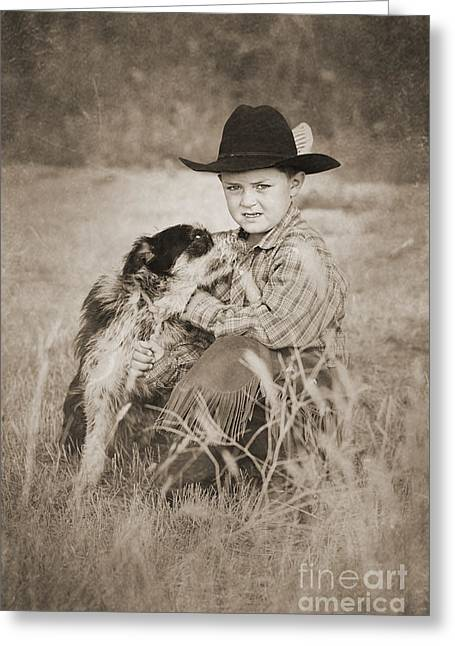 Cowboy And Dog Greeting Card by Cindy Singleton