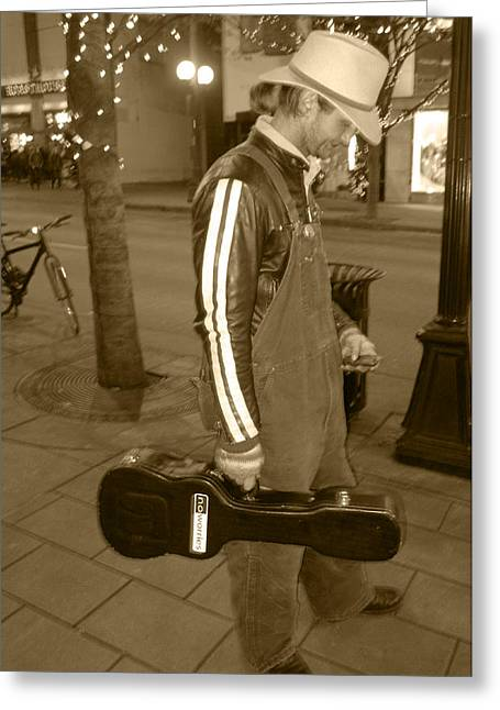 Greeting Card featuring the photograph Cowboy Musician On Streets by Kym Backland