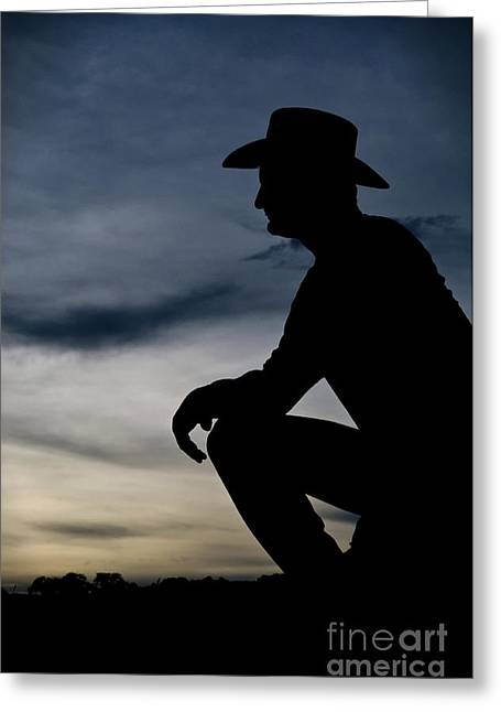 Cowboy Silhouette At Sunset Greeting Card by Andre Babiak
