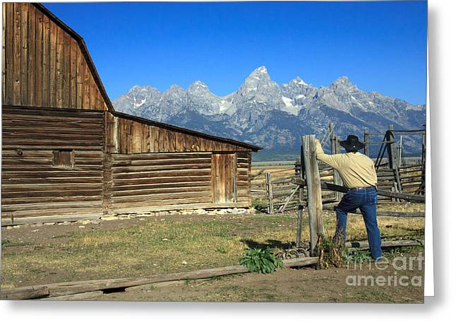 Greeting Card featuring the photograph Cowboy With Grand Tetons Vista by Karen Lee Ensley