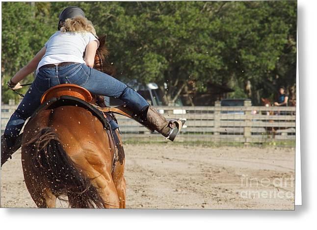 Cowgirl Away Greeting Card by Lynda Dawson-Youngclaus