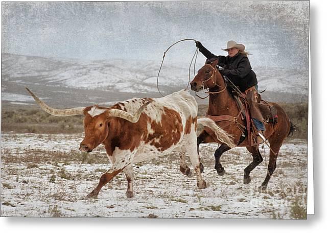 Cowgirl Roping Longhorn Greeting Card