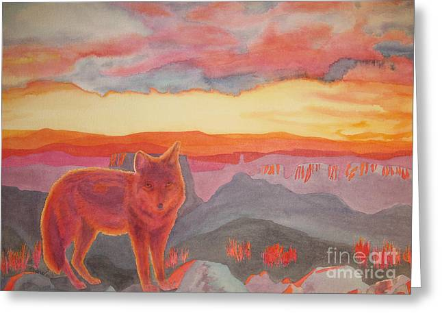 Coyote Cliff Greeting Card by Vikki Wicks