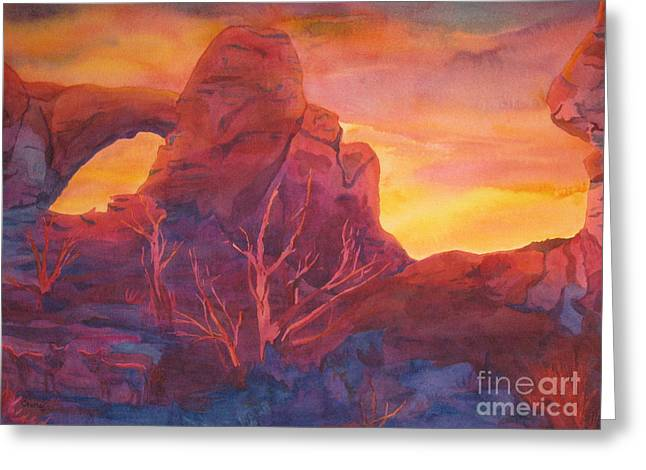 Coyote Dusk Greeting Card by Vikki Wicks