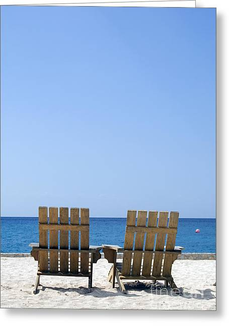 Cozumel Mexico Beach Chairs And Blue Skies Greeting Card by Shawn O'Brien