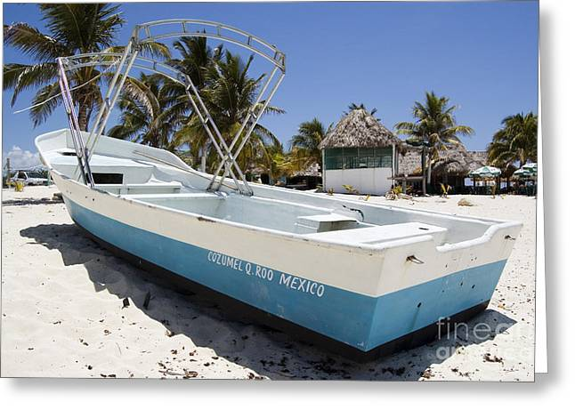 Greeting Card featuring the photograph Cozumel Mexico Fishing Boat by Shawn O'Brien