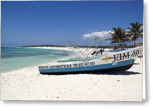 Greeting Card featuring the photograph Cozumel Mexico Fishing Boats On White Sand Beach by Shawn O'Brien