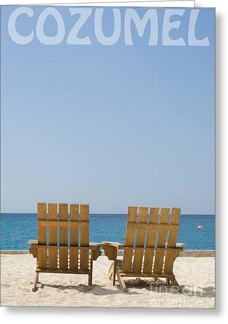 Cozumel Mexico Poster Design Beach Chairs And Blue Skies Greeting Card by Shawn O'Brien
