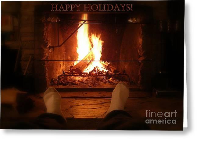 Cozy Cabin Holiday Card Greeting Card by Carol Groenen