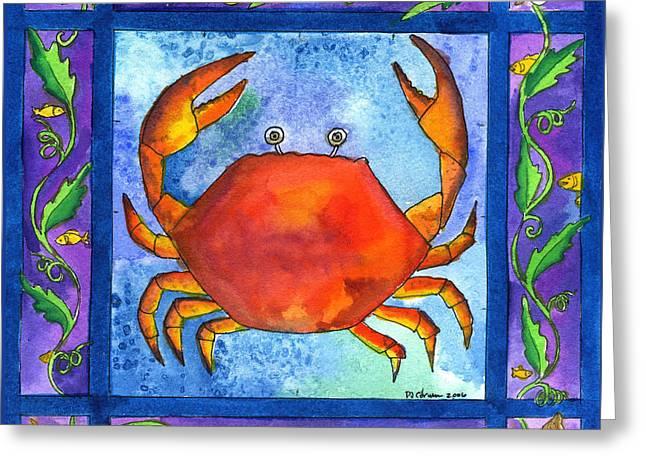 Crab Greeting Card by Pamela  Corwin