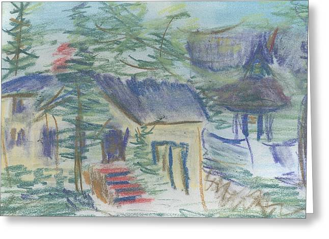 Greeting Card featuring the pastel Crackhouse Revisited by Denny Morreale