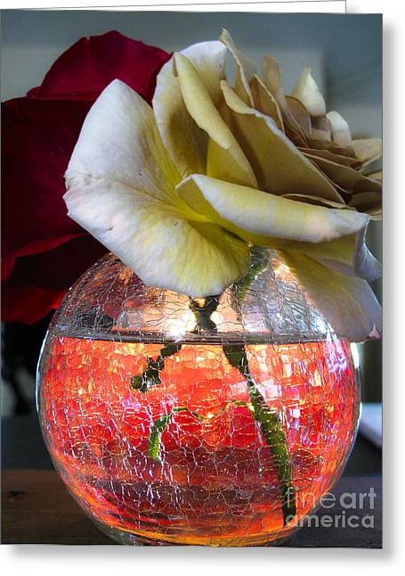 Greeting Card featuring the photograph Crackle Glass by Leslie Hunziker