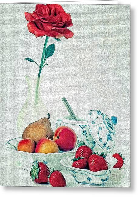 Crackled Rose Greeting Card by Elf Evans