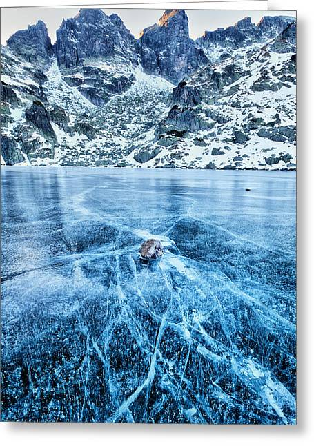 Cracks In The Ice Greeting Card by Evgeni Dinev