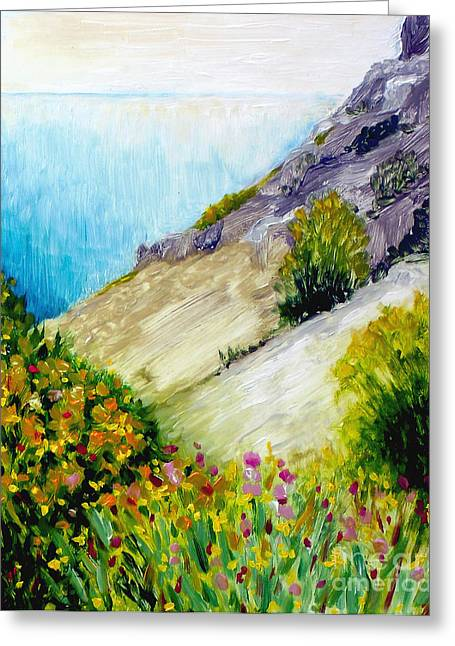 Crags And Wildflowers Of Monaco Greeting Card by Hilary England