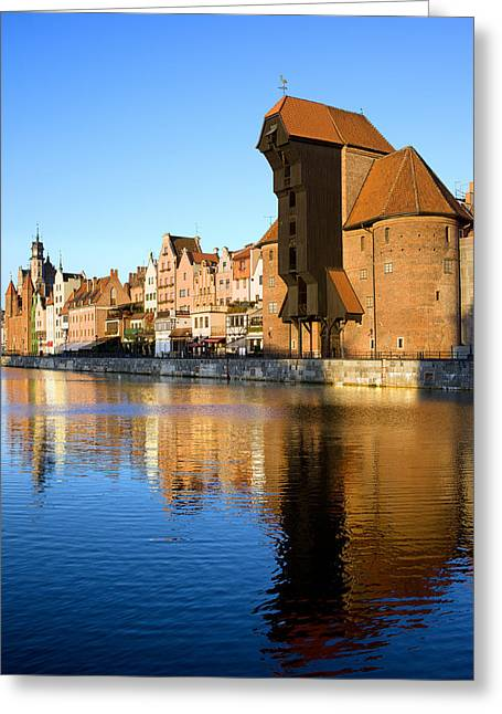 Crane In The Old Town Of Gdansk Greeting Card