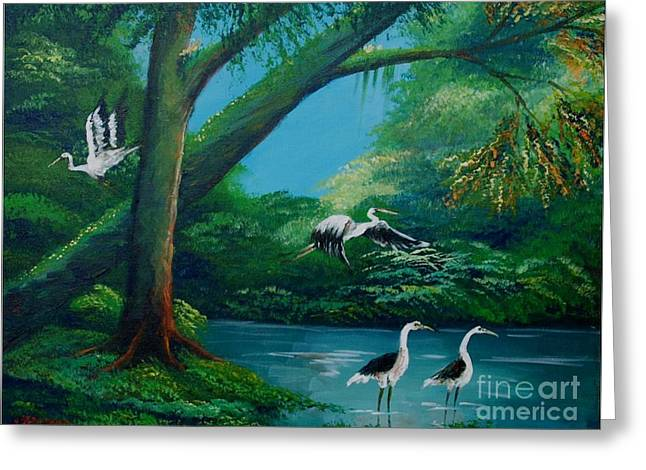 Cranes On The Swamp Greeting Card