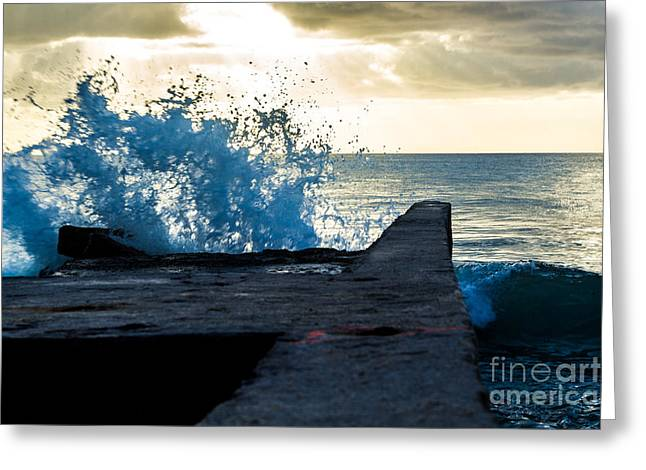 Crashing Blue Greeting Card by Rene Triay Photography