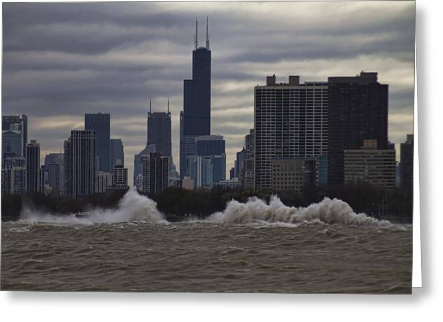 Crashing Surf In Stormy Chicago Greeting Card