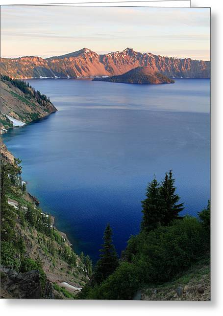 Crater Lake Sunrise Greeting Card by Pierre Leclerc Photography