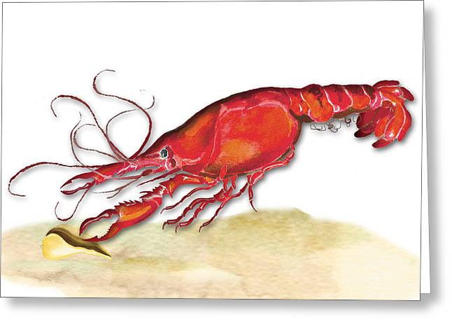 Greeting Card featuring the painting Crawfish by Anne Beverley-Stamps