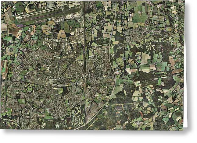 Crawley, Uk, Aerial Image Greeting Card by Getmapping Plc