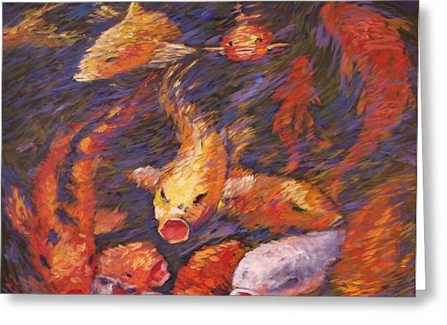 Greeting Card featuring the painting Crazed Clear Creek Koi by Charles Munn