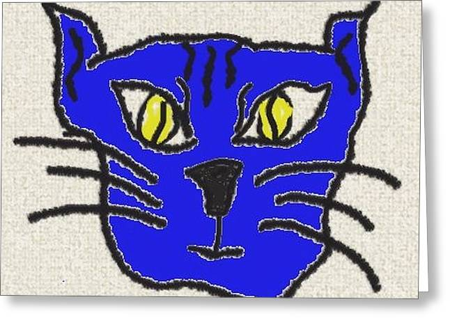 Crazy Cat Greeting Card by Leeann Stumpf