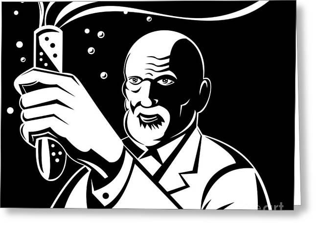 Crazy Mad Scientist Test Tube Greeting Card by Aloysius Patrimonio