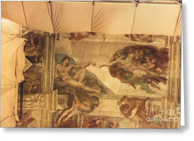 Creation Of Adam With Scaffolding Greeting Card