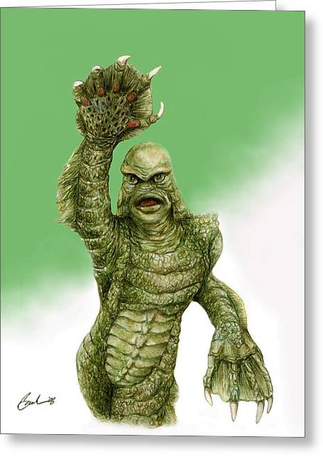 Creature From The Black Lagoon Greeting Card by Bruce Lennon