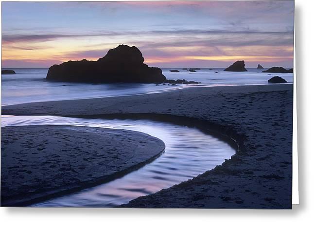 Creek Flowing Into Ocean At Harris Greeting Card by Tim Fitzharris