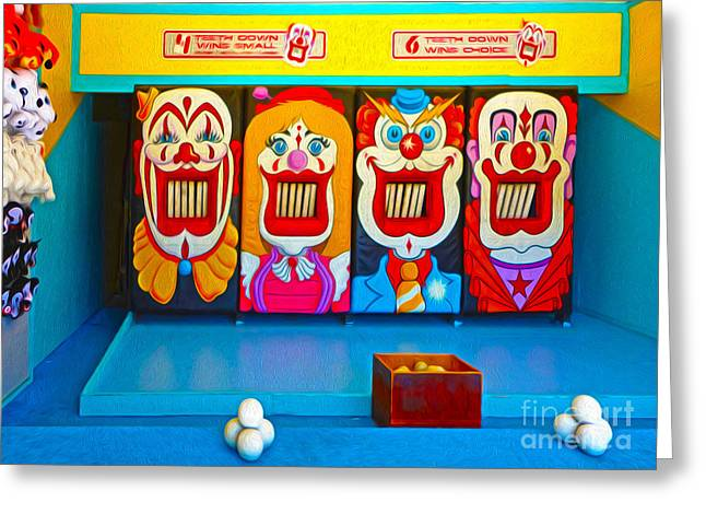 Creepy Clown Game Greeting Card by Gregory Dyer
