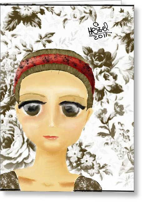 Creepy Face Greeting Card by Heizel Gonzalez