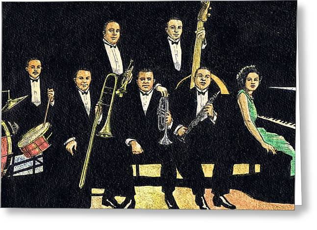 Creole Jazz Band Greeting Card by Mel Thompson