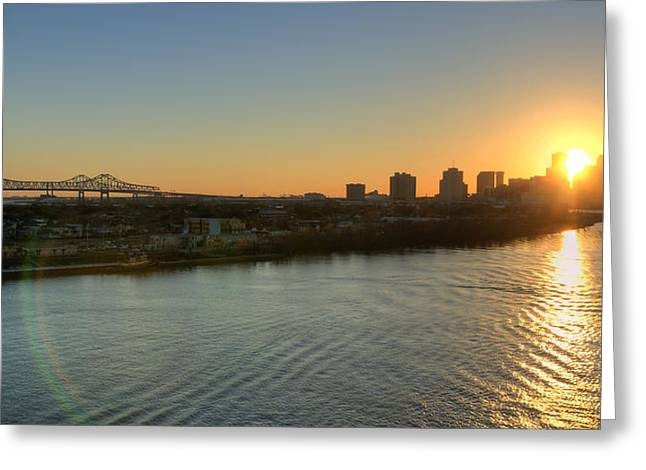 Greeting Card featuring the photograph Crescent City Sunset by Ray Devlin