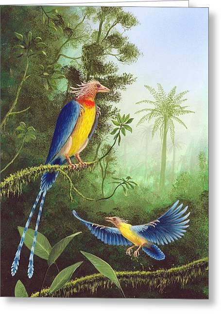 Cretaceous Birds, Artwork Greeting Card by Richard Bizley