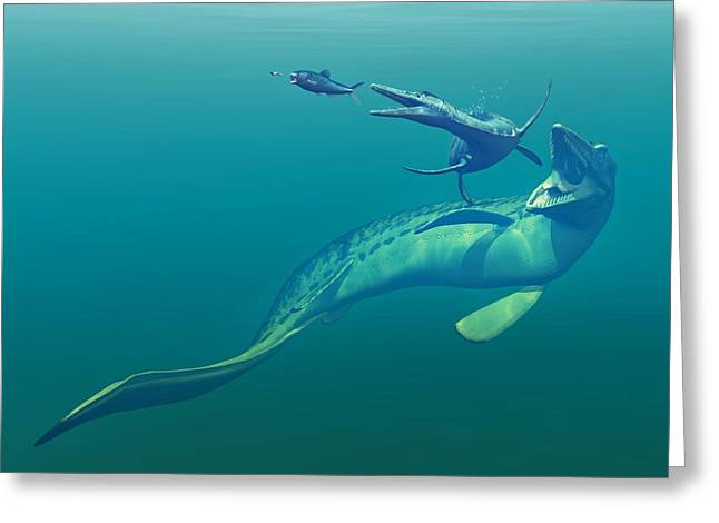 Cretaceous Marine Predators, Artwork Greeting Card by Walter Myers
