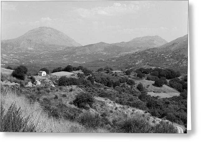 Crete Landscape With Chapel Greeting Card by Paul Cowan