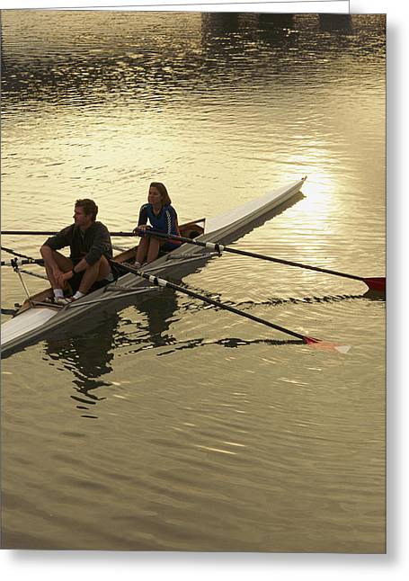 Crew Model Released Rowers Take A Break Greeting Card by Phil Schermeister