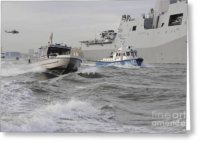 Crews From The Coast Guard And Police Greeting Card by Stocktrek Images